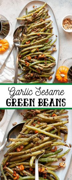 Give green beans an upgrade with this Garlic Sesame Green Beans recipe. Sautéed in oil and garlic and coated in toasted cashews and sesame seeds, this dish pairs perfectly with any main course. Sesame Green Beans Recipe, Green Bean Recipes, Veggie Recipes, Healthy Dinner Recipes, Vegetarian Recipes, Green Bean Dishes, Asian Diet, Garlic Green Beans, Vegetable Side Dishes