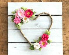 Felt Wreath, pink heart, baby shower, felt flowers, wedding, felt flower, monogramed wall decor, girl nursery,bedroom decor,girls room