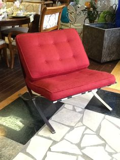 themillionairesdaughter.com Chair  Barcelona Style Chair/ Vintage Chrome frame, leather straps Clean Upholstery Location: Hamilton Categories: Occasional Chairs $306.30 + tax Item #: 11508