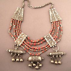 Coral and Silver Necklace from Yemen | Early 20th century | Each Yemeni family has her own design for the silver main elements