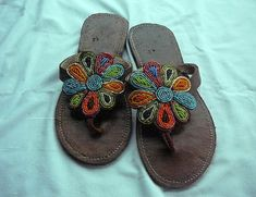 30f45e95797093 Sunflower - African Kenyan Handmade Leather Beaded Sandals Flip flops
