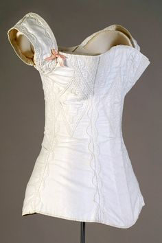 White cotton corded and stitched corset American, ca 1830sAccession number: KSUM 1995.17.1345.    Kent State University Museum