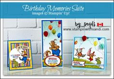 Birthday Memories Suite and Birthday Delivery by Stampin Up, cards by Sandi - click the image for details on how Sandi created these cards Birthday Delivery, Kids Birthday Cards, Animal Party, Party Animals, Birthday Pictures, Friend Birthday, Paper Cards, Cool Cards, Kids Cards