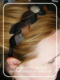 DIY leather headband made from old leather scraps. Suarez Suarez Hernandez make it! Diy Hair Accessories, Leather Accessories, Leather Jewelry, Wedding Accessories, Headband Tutorial, Diy Headband, Diy Tutorial, Diy Leather Headband, Diy Hairstyles