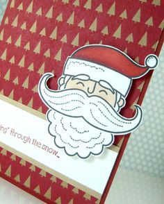 Merry Monday #5; Santa Stache by Stampin' Up!  Quick and cute Christmas Card by Angie Britt