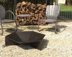 Modern Steel Origami Fire Pit by Handsome Industires [buy] Outdoor Spaces, Outdoor Decor, Outdoor Fire, Steel Fire Pit, Modern Design, Origami, Wood, Creative, Etsy