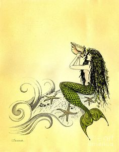 Mermaid With Queen Conch Shell Painting