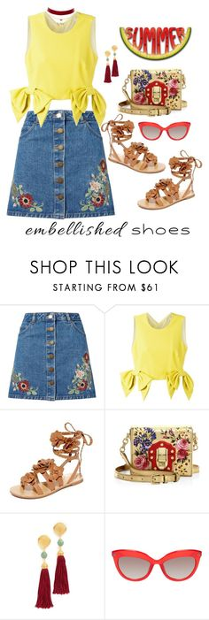 """Embellished Shoes 2"" by seafreak83 on Polyvore featuring Miss Selfridge, MSGM, Tory Burch, Dolce&Gabbana, Ben-Amun, Charlotte Russe, yellow, denim, embellished and embellishedshoes"