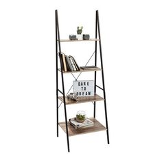 Ladder - Industrial Style | Kmart $49.00 A-frame 4-tier shelf measures: 60cm (W) x 180cm (H) x 50cm (D). Made from E2 paper-covered board and black powder-coated black tube (1.5cm x 2.5cm).