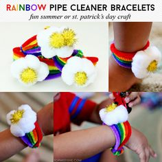 Rainbow Pipe Cleaner Bracelets - Great for summer or St. Patrick's Day!