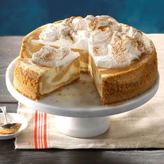 Pumpkin swirls not only turn this fall cheesecake into a showstopper, but they also seem to make it more delicious! —Jami Geittmann, Greendale, WisconsinMom's Best Pumpkin Cheesecake Recipe photo by … Best Pumpkin Cheesecake Recipe, Best Cheesecake, Pumpkin Recipes, Fall Recipes, The Cheesecake Factory, Chocolate Cheesecake, Baked Cheesecake Recipe, Cheesecake Desserts, Strawberry Cheesecake