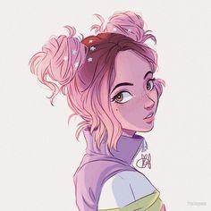 Portrait Illustration *kinda* self portrait! lol pink space buns are life ; Cartoon Kunst, Cartoon Drawings, Anime Girl Drawings, Cartoon Art Styles, Pretty Art, Cute Art, Bel Art, Itslopez, Art Mignon