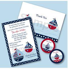 Sail Away Nautical Sailboat Baby Shower Invitation Printable Party Pack. $20.00, via Etsy.