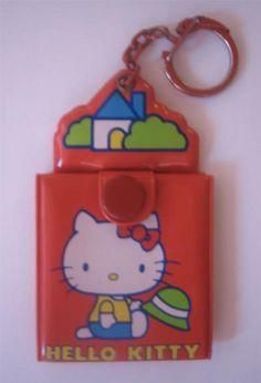RARE VINTAGE SANRIO HELLO KITTY CAT COOK WITH HAMBURGER  KEY RING  KEY CHAIN