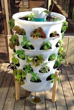 Garden Tower Project \u00bb The Homestead Survival vertical planter with a worm tower in the center really works. You add kitchen scraps into the center tower which creates a compost tea that drips out the bottom which you add back into the plants. Each hole can grow a different plant. 50 plants in 4 sq. ft.- Strawberries, lettuce, herbs, flowers... endless possibilities! Look at ALL the combinations!