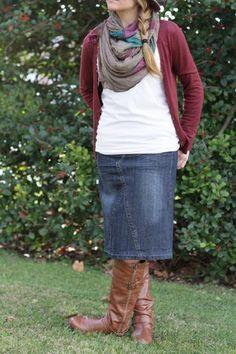 'Ava' Knee Length Distressed Denim Skirt