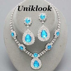 Formal Bridesmaid Bridal Prom Aqua Blue Clear Crystal Jewelry Bib Necklace Sets