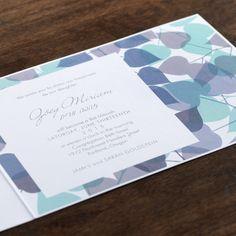 Blue and Gray Bat Mitzvah Invitation