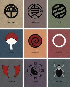 Clan symbols of the Hidden Leaf Village.