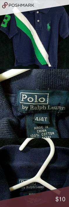 Ralph Lauren polo Navy blue with green and white striped Polo. Good condition but normal wear around the collar as shown in the last picture Ralph Lauren Shirts & Tops Polos