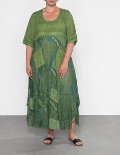 Lissmore Sommerkleid im Patchwork-Stil mit Spitze in Grün