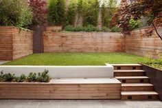 Sloped Backyard, Sloped Garden, Backyard Play, Small Backyard Landscaping, Backyard Ideas, Backyard Patio, Back Garden Design, Small Backyard Design, Modern Garden Design