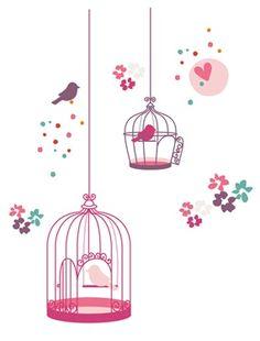 Suspendus aux murs de la chambre, ces cages à oiseaux invitent au romantisme et offrent aux petites filles une chambre de rêve... DIMENSIONS : 2 planc