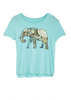 Floral Elephant Tee - Graphic Tees - Tops - dELiA*s