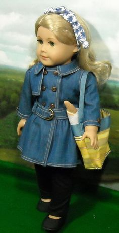 American Girl Dolls : Denim Coat and Jeans Outfit for American by SugarloafDollClothes American Doll Clothes, Ag Doll Clothes, Doll Clothes Patterns, Coat Patterns, Dress Patterns, Jean Outfits, Girl Outfits, Girl Dolls, Ag Dolls