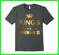 Mens Kings Are Born On November 01 - Birthday T-shirt Small Dark Heather - Birthday shirts (*Amazon Partner-Link)