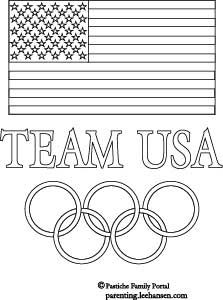 Olympics coloring poster, team USA with US Flag