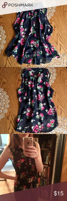 Floral Button-Up Black Sheer Blouse Super cute sheer blouse - in perfect condition. Fit is M-L and goes with just about anything  Tops Button Down Shirts