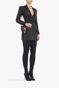 Glittered sateen mini dress | Women's dresses | Balmain