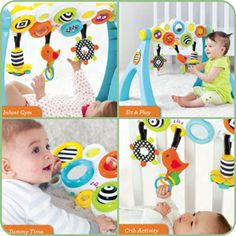 Infantino Pop & Play Activity Gym - four great options for playtime. Place baby underneath for overhead discovery play, or place it over your baby's crib. Tummy time - rotate the downward to let your child explore. older babies can easily sit and play with the pods and toys. Hanging toys can hook on carrier handle.