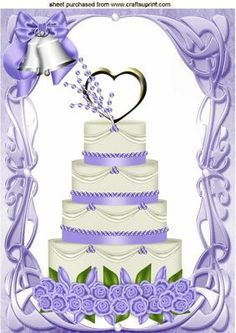 WEDDING CAKE WITH LILAC ICING AND BELLS A4 on Craftsuprint - Add To Basket!