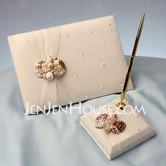 Libro de visitas - $23.99 - libro de visitas de la boda y la pluma establece con concha marina(101018183) http://jenjenhouse.com/es/Libro-De-Visitas-101018183-g18183