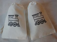 10 Choo Choo train birthday cotton party favor bag