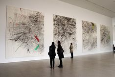 Installation view of Julie Mehretu's Mogamma (A Painting in Four Parts) , at Documenta Kassel, Germany. Abstract Drawings, Abstract Art, Documenta Kassel, Land Art, Claude Monet, Women Artist, Art Criticism, Street Art, Action Painting