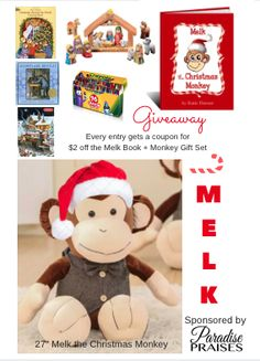 Enter to win Melk, his book and a package of other gifts through 11/4/16 at http://paradisepraises.com/giveaways/melk-christmas-monkey-giveaway/