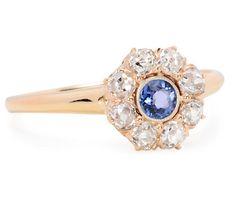 Flirty Edwardian Sapphire Diamond Cluster Ring - The Three Graces