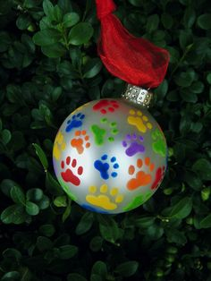Paw Print Ornament Cat and Dog Pawprints by BrushStrokeOrnaments