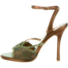 Pre-owned Rene Caovilla Sandals ($130) ❤ liked on Polyvore featuring shoes, sandals, green, genuine leather shoes, green leather sandals, rené caovilla, leather sandals and pre owned shoes