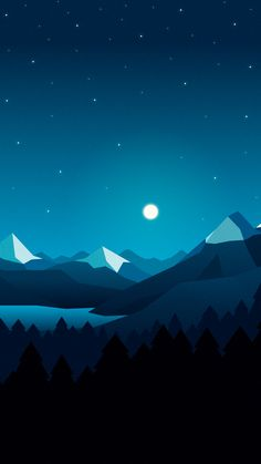 Moon over mountains stars digital art wallpaper minimalist wallpaper, minim