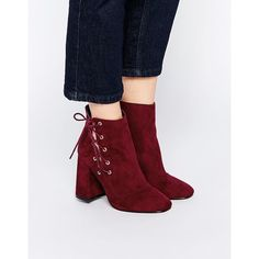 ASOS ENIGMA Lace Up Ankle Boots ($77) ❤ liked on Polyvore featuring shoes, boots, ankle booties, rust, lace-up bootie, short boots, block heel ankle boots, high heel ankle boots and ankle boots