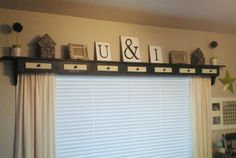 Above the window shelf. This would be cute in Laylas new room. - Home Decoz Shelf Above Window, Window Shelves, Living Room Remodel, My Living Room, Wood Valance, Painting Trim, Diy Décoration, Diy Bed, New Room