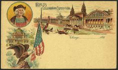 "United States UPSS #EX79 World's Columbian Exposition Postal Card:   Machinery Building and Columbus' portrait with yellow background and with date line ""Chicago,_____1893."" on UPSS #S10 (Type 1) postal card.  Note: printed and distributed by the W.B. Orcutt Company of Chicago, Illinois."