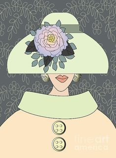 Lady with peony flower hat