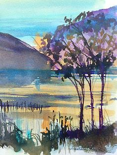 Original Water Colour  painting  'Evening Light' Signed £4
