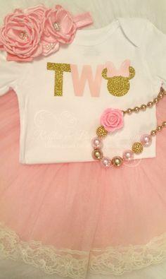 Minnie Second Birthday Pink & Gold Glitter Shirt