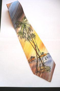 EXCEPTIONAL PALM BEACH Vintage Tie 1940 Swing 40s  par FeverVintage